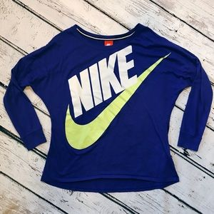 Nike Long Sleeve Athletic Top Blue and Lime Green